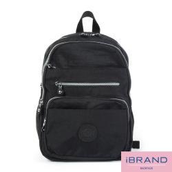iBrand後背包 輕盈防潑水多口袋尼龍後背包-黑色 MDS-8551