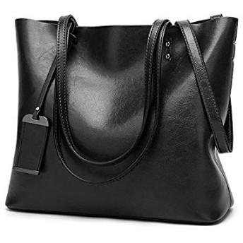 バッグビジネスバッグレザーバケツバッグシンプルダブルバックトートバッグショルダーバッグレディース/メンズトートバッグ (Color : Black)