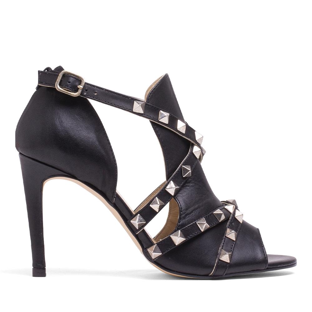 MISWEAR 真皮鉚釘交叉高跟涼鞋-黑