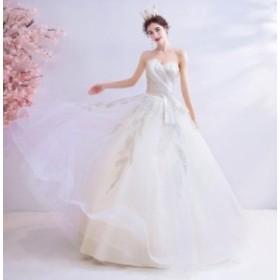 ウエディングドレス プリンセスラインドレス 2020春新作品 ブライダル 結婚式 ロングドレス 花嫁衣装 豪華ドレス 優雅 刺繍コサージュ ビ