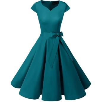 Dresstell(ドレステル) スイングワンピース カップ袖 Vネック 50年代 ウィンテージ お呼ばれ 結婚式 フォーマルドレス レディース ターコイズ Mサイズ