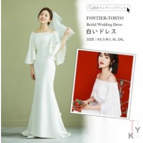 軽系ウェディングドレス ロングドレス レディース 白いドレス ウェディングドレス 結婚式 シンプル 上品 ワンピース ウェディングドレス
