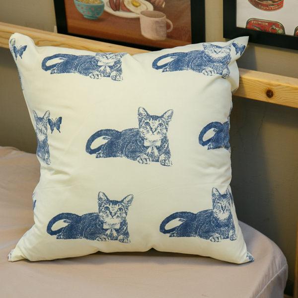 藍貓 手工方抱枕 45X45cm【棉床本舖】
