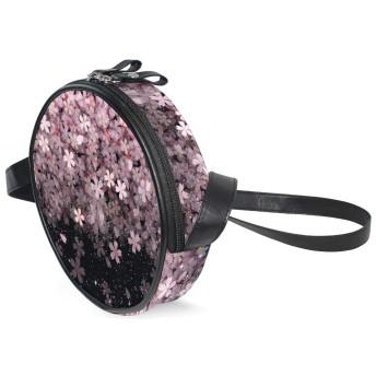 ショルダーバッグ 肩掛けバッグ 斜めがけ バッグ ミニショルダーバッグ 丸形 可愛い レディース クラシカル さくら 桜柄 キャンバス ファッション 斜めがけバッグフェイクレザー