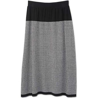 マリークヮント(MARY QUANT) ニットジャカードチェックロング スカート【010/ブラック/M】