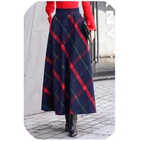 ハイウエストスカートホット女性秋冬ポケット弾性ウエストエレガントなオフィスレディロングスカート、赤、S
