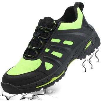 [ギャロップ] メンズ 安全靴 作業靴 レディース つま先保護靴 耐磨耗 セーフティーシューズ 衝撃吸収 防滑 耐油 ワーキングシューズ ユニセックス グリーン26.5CM