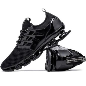 LOUCHI スニーカー メンズ ランニングシューズ ウォーキングシューズ 運動靴 スポーツ クッション性 トレーニングシューズ 通気 軽量 通学通勤 日常着用黒 ブラック