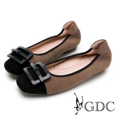 GDC-真皮磨砂優雅飾釦基本素色平底包鞋-駝色