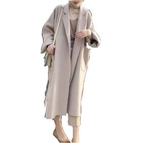 ロングコート ロングジャケット レディース アウター ロング チェスター コート ジャケット 大きいサイズ (ライトベージュ, XL)