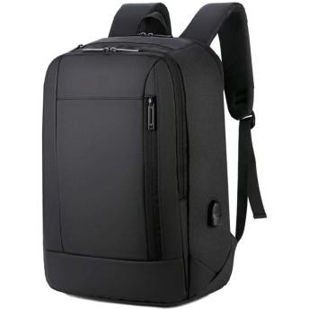 登山リュックサック アウトドア 大容量 防水 ハイキングバックパック、学生のバックパック、旅行ノートパソコンのバックパック、ビジネス防水バッグUSBポートを充電して、女性の男性のための大学の学校のコンピュータバックパックは、ブラックを15.6インチのノートブックに適合します 旅行 通学 男女兼用バッグ 収納性抜群