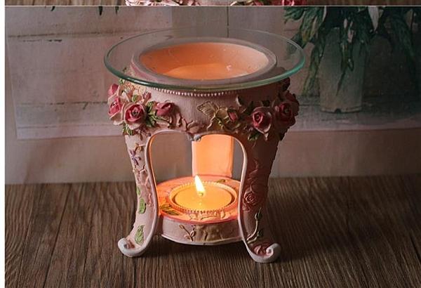 歐式玫瑰花香薰燈香薰台蠟燭精油爐韓式樹脂家飾品工藝香薰爐