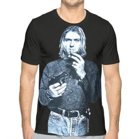 メンズプリント半袖Tシャツ Kurt Cobain 夏の人気の男性の半袖、旅行、仕事、スポーツ、毎日の行動L