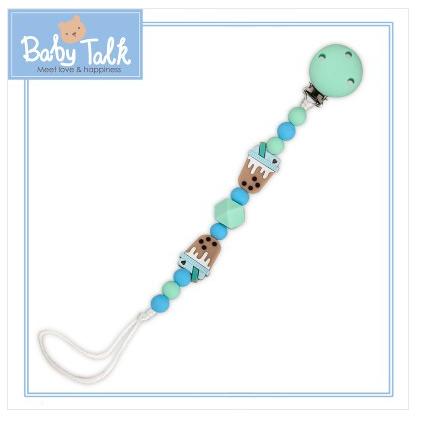 【淘氣寶寶】小小家 BABY TALK 防脫落矽膠奶嘴鏈珍珠奶茶(咖啡色) 112653