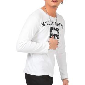 LUX STYLE(ラグスタイル) ロンT メンズ 長袖Tシャツ ロゴ 55 数字 ナンバリング プリント ホワイトM