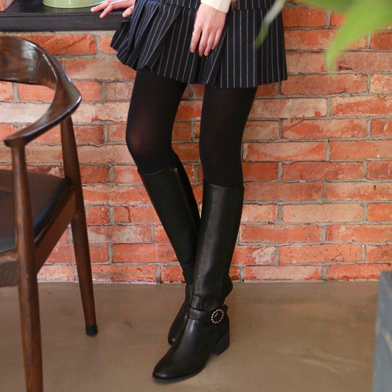 PRE-ORDER韓國人手製 MACMOC LUX (BLACK) 花環扣長筒騎士靴