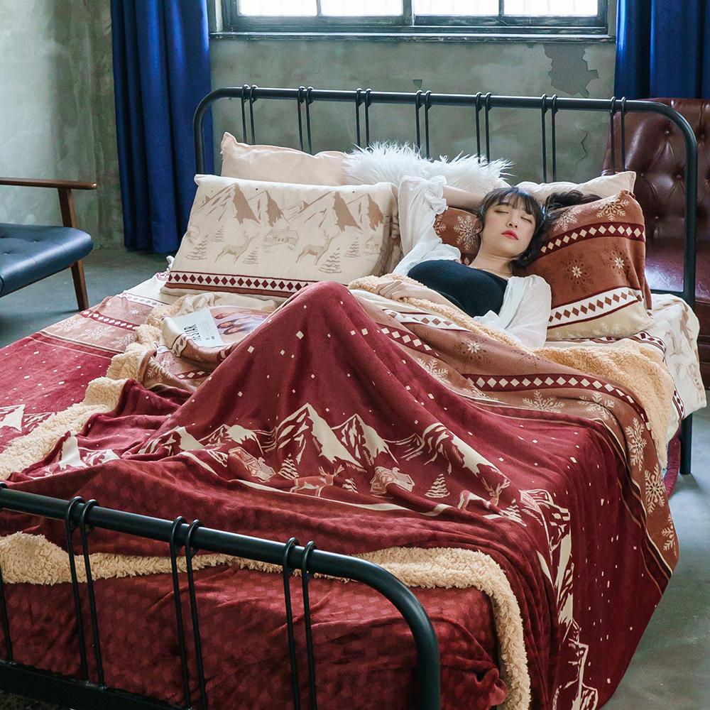 聖誕麋鹿 法蘭絨床包兩用毯組 溫暖舒適 台灣製【棉床本舖】