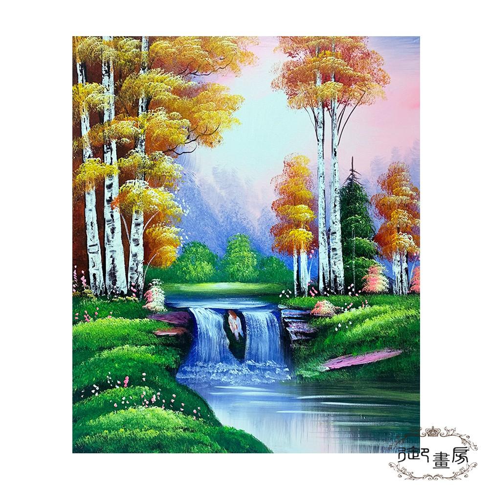 御畫房 手繪無框油畫 水秀山明 50x60cm