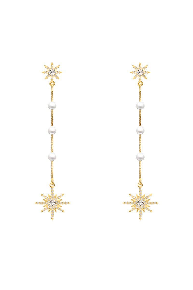 純銀流蘇雪花鋯石耳環