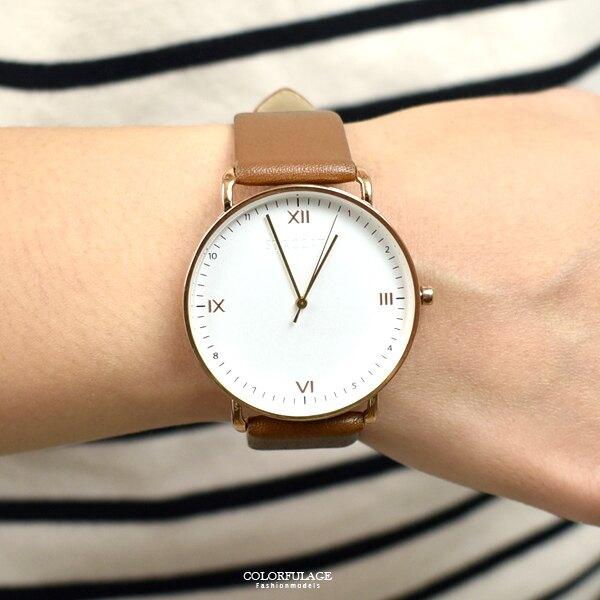 手錶 STACCATO玫金交錯時刻皮革錶【NEKS13】