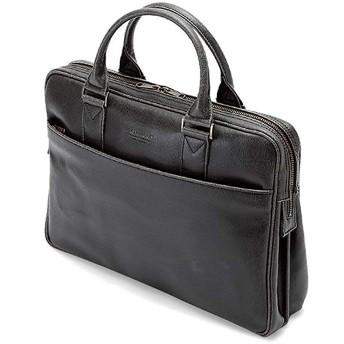 日本製 多機能 ビジネスバッグ [豊岡製 かばん] レトロ調 ブリーフケース PC収納 B4 メンズ 紳士 バッグ (クロ)