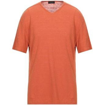 《セール開催中》ROBERTO COLLINA メンズ T シャツ 赤茶色 52 リネン 70% / 指定外繊維(テンセル) 30%