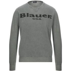 《セール開催中》BLAUER メンズ プルオーバー ミリタリーグリーン L ウール 80% / ナイロン 20%