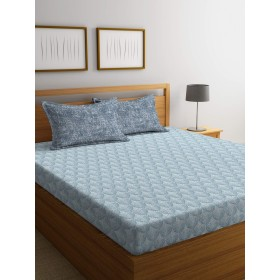 Portico New York FACETS Printed Cotton 210 TC Super King Double Bedsheet with 2 Pillow Cover-274X274 cm
