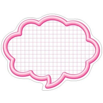 タカ印 ポップ用紙 16-4192 抜型カード 50枚 立体枠吹出し ピンク