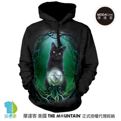 摩達客 美國The Mountain 黑貓水晶球 環保藝術長袖連帽T恤