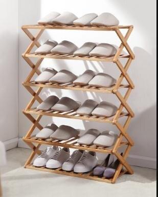 鞋架多層簡易家用經濟型竹架子宿舍門口收納神器免安裝折疊小鞋櫃