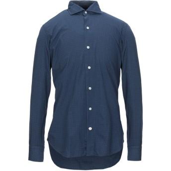 《セール開催中》MAZZARELLI メンズ シャツ ダークブルー 39 コットン 100%