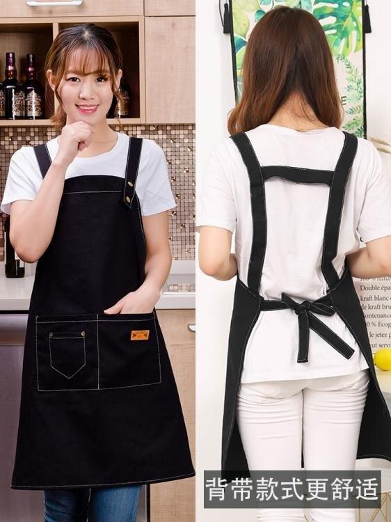 女美甲奶茶店純棉防水圍裙時尚家用男防油廚房工作服