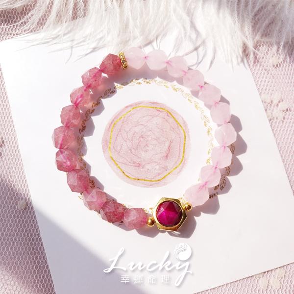 幸運命理 小確幸! 粉晶×草莓晶 愛情 財富 貴人魅力 三方提升 氣質手鍊 【LB93】