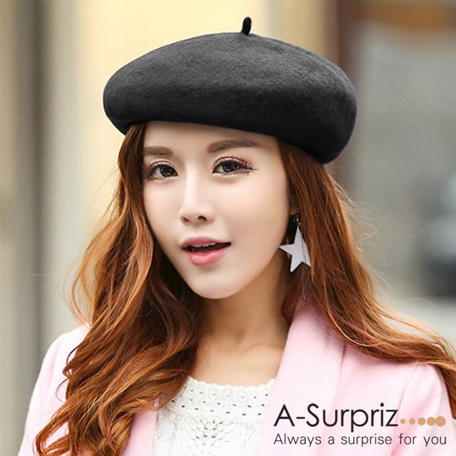 A-Surpriz 氣質純色混紡羊毛畫家帽(黑)
