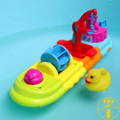 寶寶洗澡玩具兒童浴室小船拼裝按壓噴水漂浮手拿玩具【伊卡萊】  聖誕節禮物