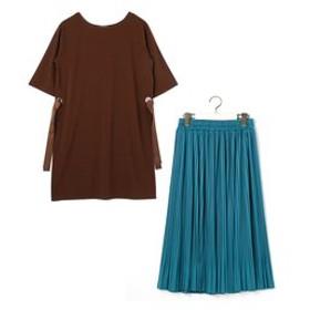 【NICOLE:スカート】ロングTシャツ&プリーツスカートセット