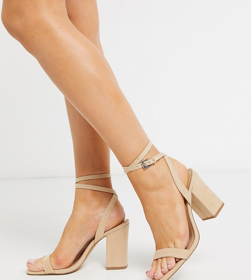 London Rebel wide fit block heel sandals in beige-Neutral