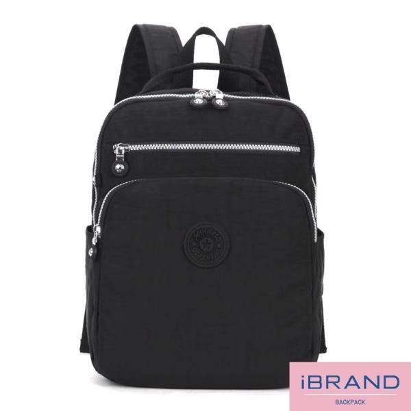 iBrand 輕盈防潑水素色雙拉鍊尼龍後背包 黑色 8612-BK