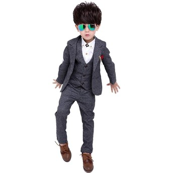 BCSY 子供服 キッズ フォーマル スーツ 男の子 スーツ 紳士服 卒業式 七五三 誕生日 入園式 (グレー,160cm)