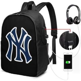 ニューヨークヤンキース 大容量 防水 リュック 多機能 軽量 カジュアル リュックサック 旅行 通学 メンズ レディース アウトドア USBポート付き