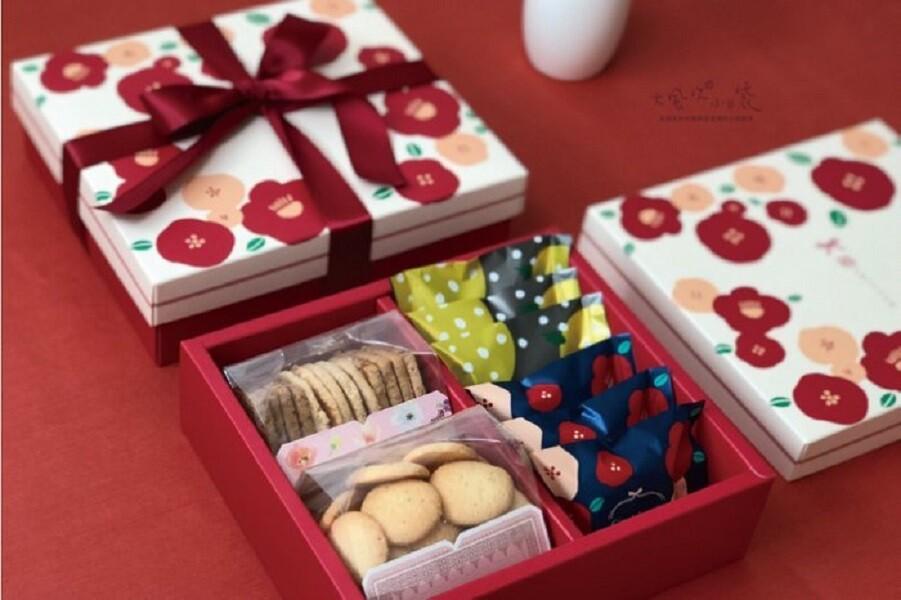 (盒+紙袋)椿花 伴手禮盒 蛋黃酥盒 月餅盒 禮品盒 中秋紙盒 鳳梨酥盒 餅乾盒 包裝盒c087