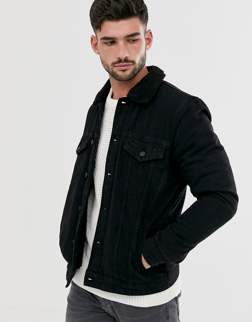 Only & Sons borg lined denim jacket in black