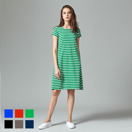 Sky Yard 女裝-短袖細條紋洋裝