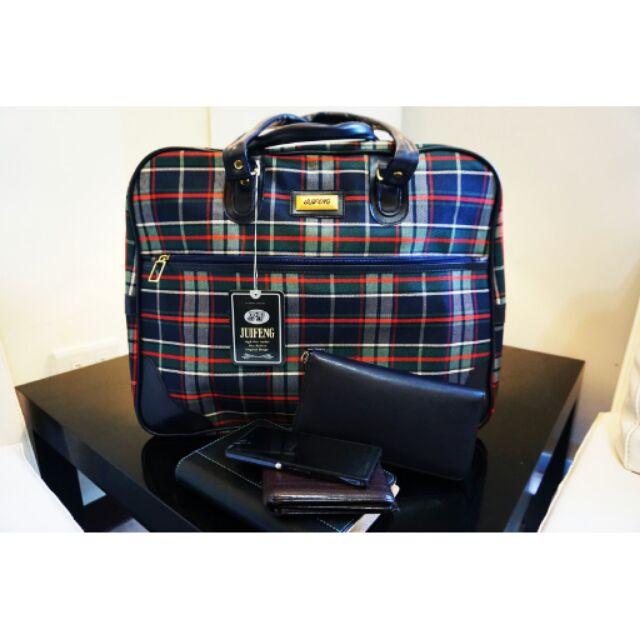 蘇格蘭藍格子紋[juifeng久楓]旅行兼休閒袋旅行包旅行袋行李袋
