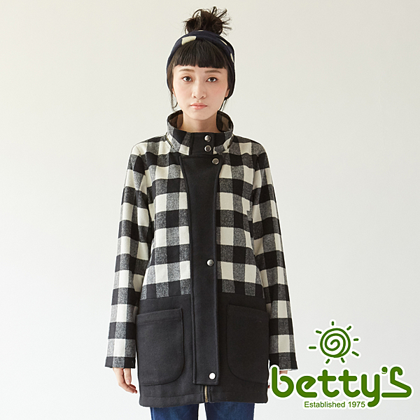 betty's貝蒂思 黑白格紋開釦混羊毛大衣(黑白格)