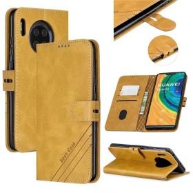 WVYMX Huawei Mate 30 Phone Case, 手帳型 ケース カバー 保護/スタンド/ICカード収納/ストラップホール TPU Case ストラップセット For Huawei Mate 30 Yellow