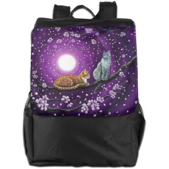 月 猫 バックパックリュック 大容量 メンズ バックパック カジュアルバッグ オシャレ旅行バッグ 通勤 通学 男女兼用バッグ 黒