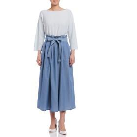 【70%OFF】カシミヤ混 タック リボンベルト付 スカート ブルー 40