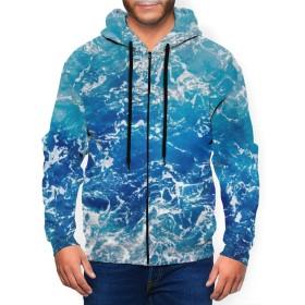 青い海の波の海の夕日 秋と冬の男性暖かいプルオーバー長袖ジップフーディポケット巾着パーソナライズポリエステルスウェットシャツブラック